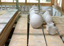 Tsujimura pieces set out to dry